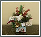Handmade Christmas Floral Arrangement, Cute Christmas Centerpiece, Christmas Floral Centerpieces For Tables Sale