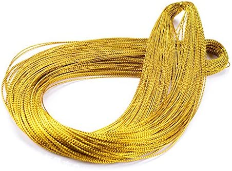 200 Meters Gold Silver Twine String Thread Jewelry Thread Bauble String Gold Metallic String Metallic Elastic Cords Tinsel String Craft Making Cord For Braids Christmas Paking Gift Wrapping Hanging