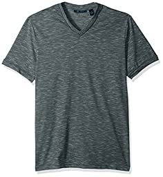 Perry Ellis Men\'s Standard Texture Slub V-Neck Tee Shirt, Eclipse, Extra Extra Large