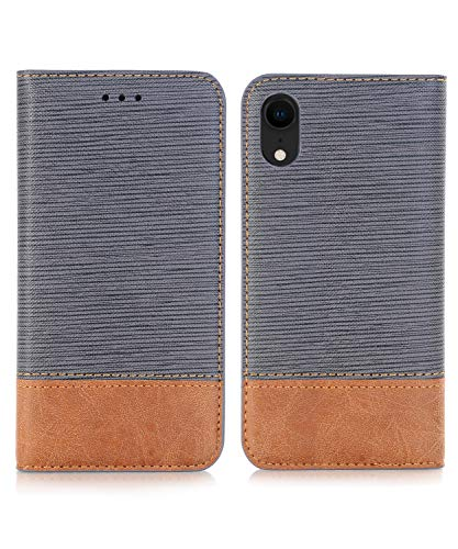 iPhone XR Case,iPhone XR Wallet Case,FLYEE Ultra Thin Slim Folio Cover PU Leather Magnetic Protective Cover with Credit Card Slots, Cash Pocket, Stand Holder for iPhone XR 6.1 inch Gray