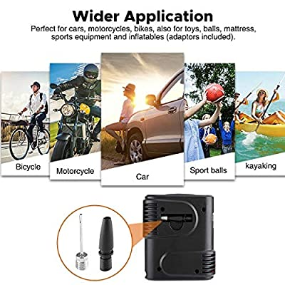 Audew Portable Tire Inflator, Mini Air Compressor - Easy Carry Tire Pump with Gauge, 12V DC Auto Tire Inflator for Car, Bicycle, Motorcycle, SUV,Basketball and Other Inflatables.: Automotive