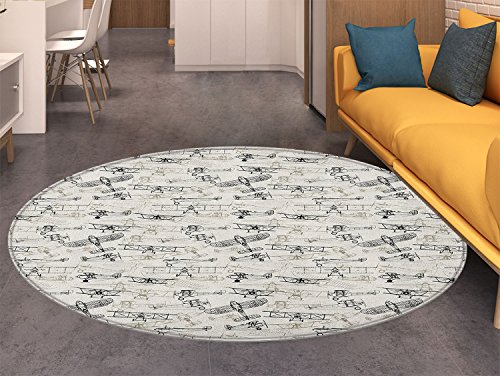 Airplane Print Area rug Old Fashioned Military Air Force Collection Hand Drawn Style Vintage Warbirds Perfect for any Room, Floor Carpet Olive Green ()