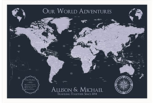 Framed World Map Wall Art - Personalized Map with White Fram