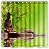Atwtow Feng Shui Meditation Zen Bamboo Green Candle Stones Water Reflection Bathroom Shower Curtain,72-Inch by 72-Inch,Unique and Generic Waterproof Polyester Fabric Decorative Bath Curtain Designs