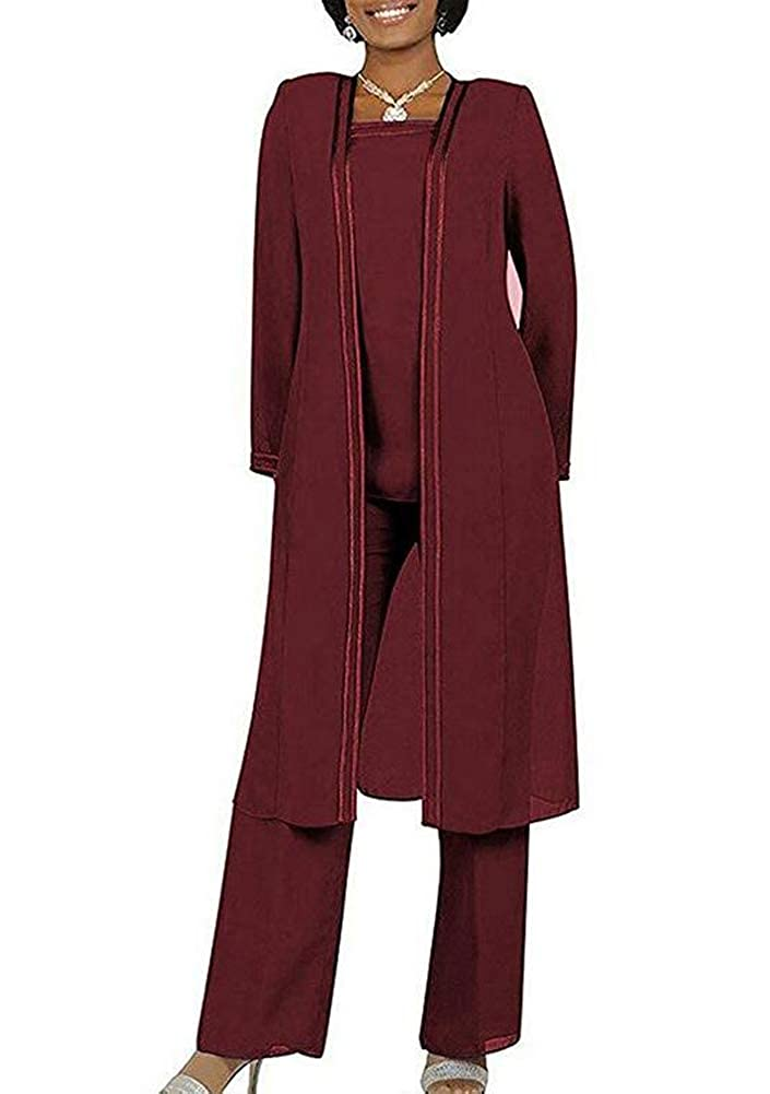 71a67c0c4 AK Beauty Women's Burgundy 3 PC Chiffon Pants Suit Outfit Plus Size Dress  Suit for Mother of The Bride Evening Gowns US4: Amazon.ca: Clothing &  Accessories