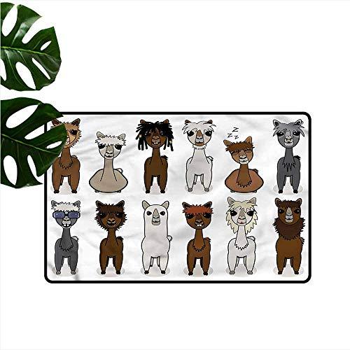 Waterproof Door mat Cartoon Alpacas Different Hairstyle with Anti-Slip Support W31 xL47]()