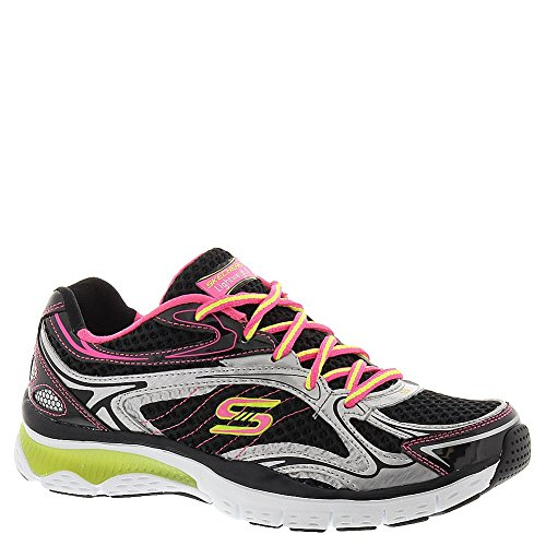 Skechers Relaxed Fit Infusion Neon Light Womens Sneakers Black/Silver/Pink 8.5