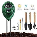 Soil Moisture Meter, Soil Ph Test Sunlight Tester with Bonsai Tools, 3 in 1 Soil Test Kit for PH/Moisture/Light, for Home and Garden, Lawn, Farm, Indoor & Outdoor Plants Care (No Battery Needed)