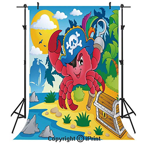 (Pirate Photography Backdrops,Cute Cartoon Crab with Eye Patch Pirate Hat Hook Pegleg Deserted Island Coast Jungle Decorative,Birthday Party Seamless Photo Studio Booth Background Banner 5x7ft,Multicol)