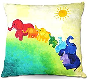 "DiaNoche Designs PilLINnJoyArtElephantRainbow1 Outdoor Patio Couch Throw Pillows, 16"" x 16"""