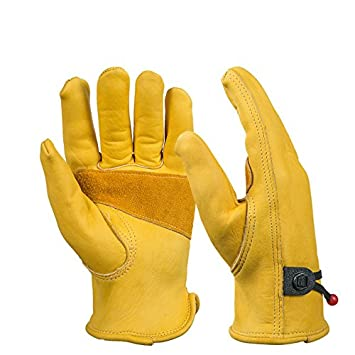 BearHoHo New Men's Full Leather Work Gloves with Ball and Tape Wrist Closure, Grain Cowhide1 Pair (Large)