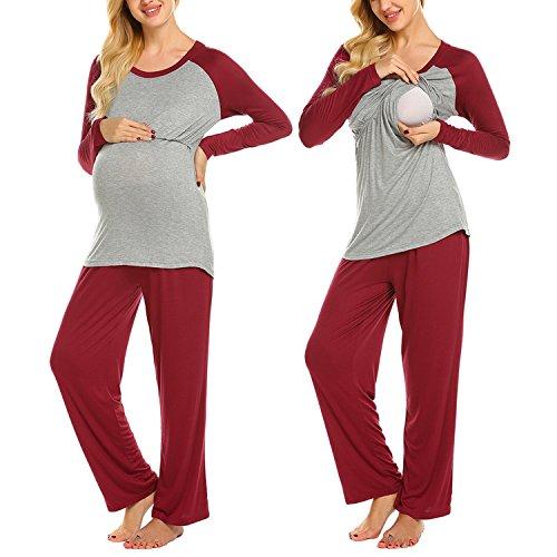 Due Lunga Pezzi Pantaloni Vestaglia Allattamento Donna Maxmoda Pigiama U Pigiami Premaman S Con Scollo Rosso xxl A Manica Ragazza 5SnwEOEqx