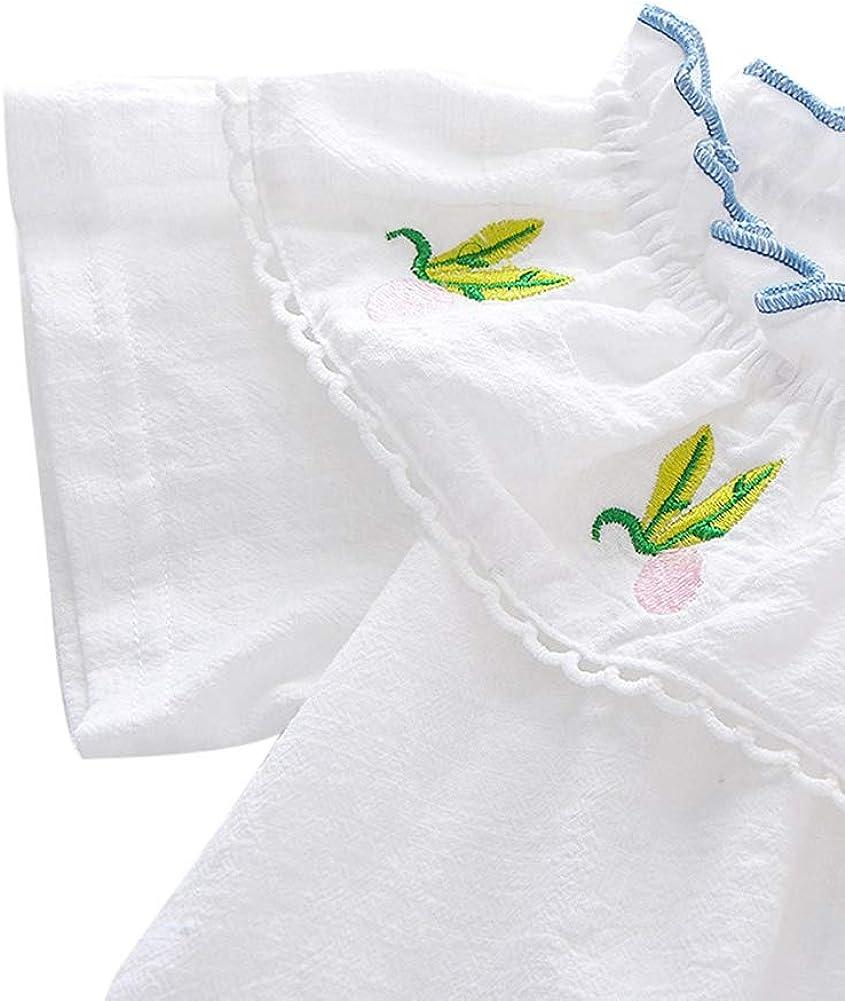 EEFRVDFFDE Infant Baby Girls Shorts Sets Ruffle Short Sleeve T-Shirt Tops Bandage Short Pants Suits