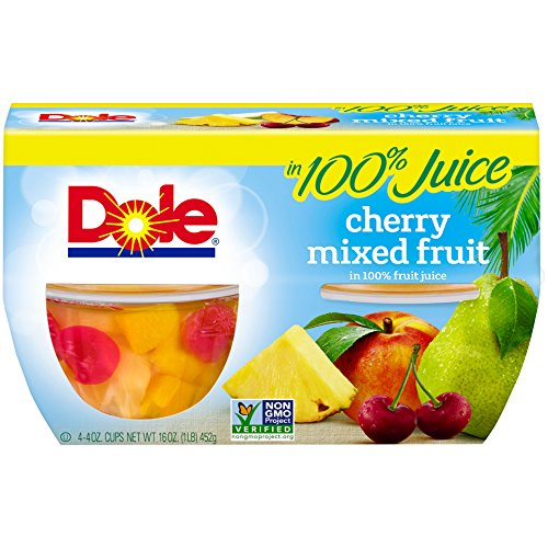 Dole Fruit Bowls, Cherry Mixed Fruit in 100% Fruit Juice, 4 Ounce (12 Cups), Pineapple Pear Peach & Cherry Packed in Fruit Juice, Non-GMO, No Artificial (Forest Cherry Fruit)