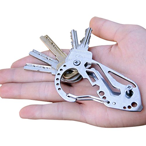 Braudel Keychain Multi-Funtional Tool,Stainless Multitool Keychain,Keychain Clip Quick Release,Wrench Screwdriver Tool,Gift For Men