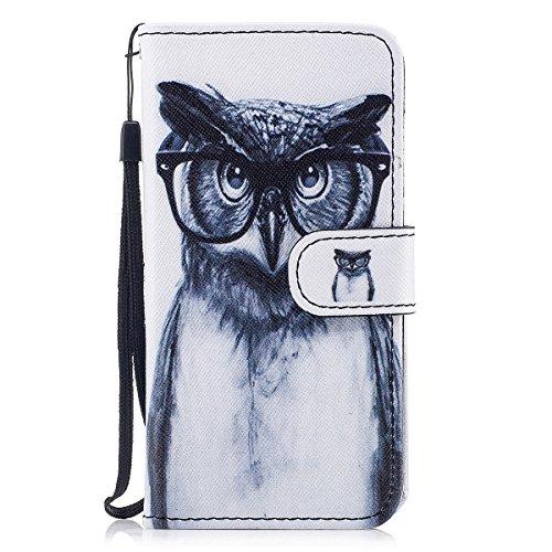 8inch Portafoglio Con Per Inshang 5 Cover Glasses Inch Owl Funzione Iphone Design 5 Supporto Di Case 8 X Integrato Custodia Iphonex On0nqv