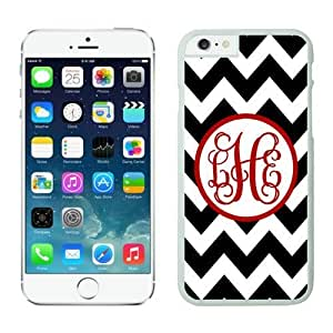 Iphone 6 Case, Personalized Black Chevron Red Monogra Iphone 6 Plus(5.5-inch) Cases White Cover