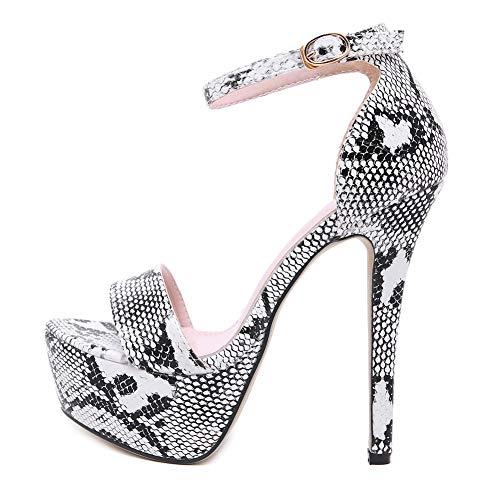 LALA IKAI Women's Snakeskin Stiletto Heeled Sandals Open Toe Platform Buckle Strap Party High Heels Black
