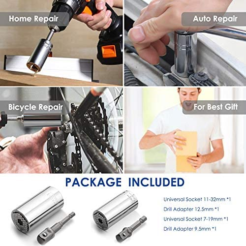 URGENEX Universal Socket Wrench Set (11-32mm 7-19mm) Professional Sockets Tools Multi-function Wrench Repair Kit with Power Drill & Ratchet Wrench Adapter Chrome Vanadium Steel (4PCS)