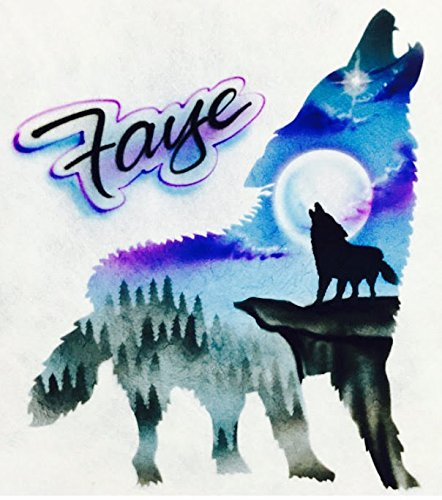 Airbrush T Shirt, Wolf Howling with Mountain Scene ()