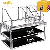 Acrylic Vanity Makeup Storage Organizer - Clear 2 bottom case drawers cosmetic beauty make up jewelry brush sponge countertop holder is a excellent bathroom box containers for brushes lipstick & more