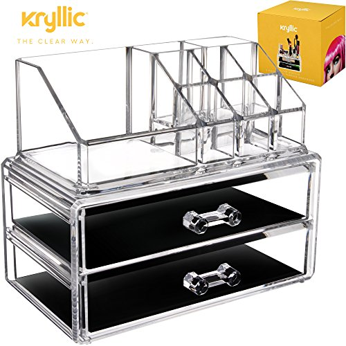 Acrylic Vanity Makeup Storage Organizer - Clear 2 bottom case drawers cosmetic beauty make up jewelry brush sponge countertop holder is a excellent bathroom box containers for brushes lipstick & more by Kryllic