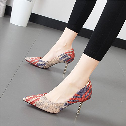 YMFIE En otoño y Primavera Verano Colores Tejidos señaló Suede Superficial Moda Zapatos de tacón Alto y Delgado Ladies' Solo Zapatos Zapatos de Trabajo. b