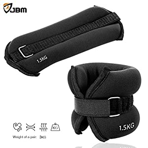 JBM Ankle Weights Wrist Leg Weights Sand Filling 2lb 4lb 6lb (1 Pair) Adjustable Straps for Walking Jogging Gym Fitness Exercise Gymnastics Aerobics 4 Colours