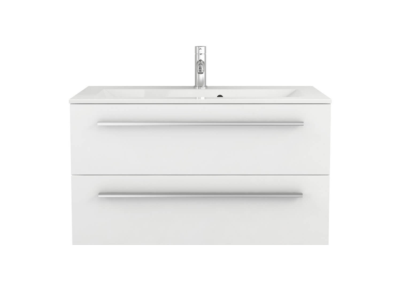 Quentis Waschplatz Set Genua 100, 2-teilig, Waschbecken und ... | {Waschbecken mit unterschrank weiß 61}