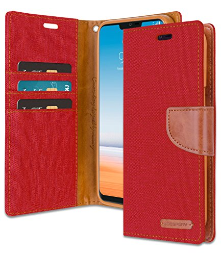 LG G7 ThinQ Wallet Case with Free 4 Gifts [Shockproof] GOOSPERY Canvas Diary Ver.Magnetic [Denim Material] Card Holder with Kickstand Flip Cover for LG G7 ThinQ - Red, ()