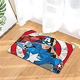 15x23 inch Kids Blue Captain America Door Mat, Red Superhero Door Rug Avengers Cartoon Themed Waterproof Anti Skid Doormat Wrinkle Resistant Printed Patterned Red Multi Colored, Coral Fleece
