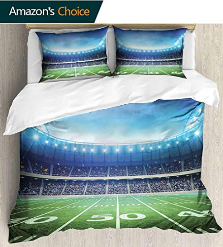shirlyhome Football Full Queen Duvet Cover Sets,Photo of American Stadium Green Grass Arena Playground Bleachers Event Match Bedding Set for Teen 3PCS 90