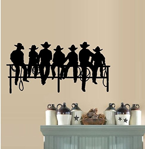 Fence Applique (Cowboys Sitting on Fence ~ Wall or Window Decal ~13