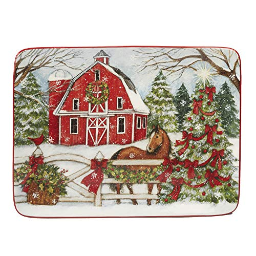 """Certified International 22809 Christmas on the Farm Rectangular Platter 16"""" x 12"""" Servware, Serving Accessories, One Size, Multicolored"""