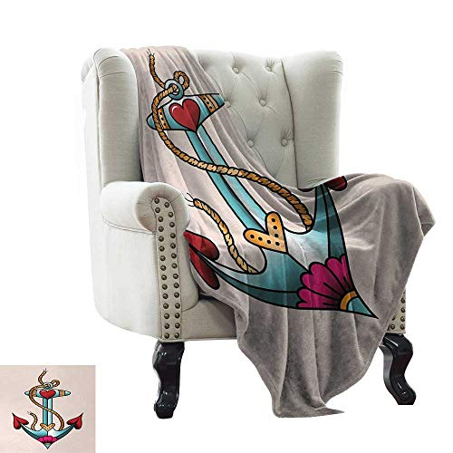 Davishouse Warm Blanket Colorful Anchor Design with Rope and Heart Motifs Traditional Nautical Arrangement Anti-Static Throw 30