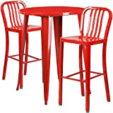 Flash Furniture 30'' Round Red Metal Indoor-Outdoor Bar Table Set with 2 Vertical Slat Back Stools