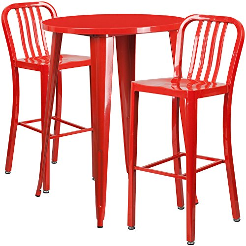 Flash Furniture 30'' Round Red Metal Indoor-Outdoor Bar Table Set with 2 Vertical Slat Back Stools by Flash Furniture