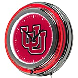 NCAA University of Utah Chrome Double Ring Neon Clock, 14''