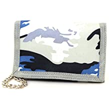 Mens / Boys Army Camouflage Ripper Fastening Wallet with Chain
