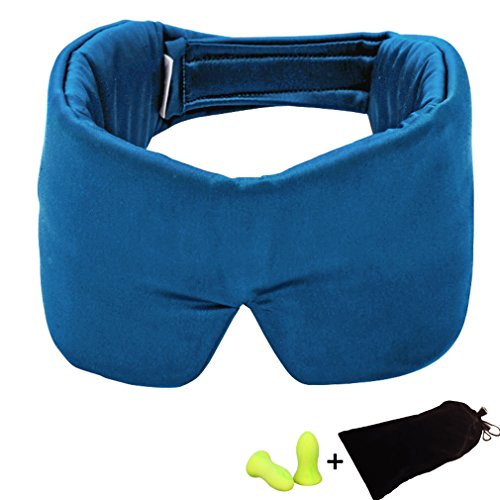 Amariver Silk Sleep Mask with Adjustable Strap, Comfortable Silk Eye Mask with Magic Sticker for Sleeping Travel Insomnia Shift Work Relaxing, Bonus Earplugs and Carry Pouch by Amariver