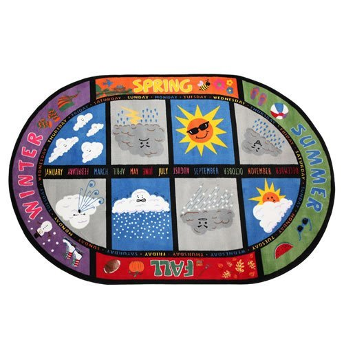 Flagship Carpets FE132-45A Weather Today Rug See Rain and Sunshine No Matter What's Going on Outside Children's Classroom Educational Carpet 7'6 x 12' 90 Length 144 Width Multi-Color [並行輸入品] B07HLL6L4M