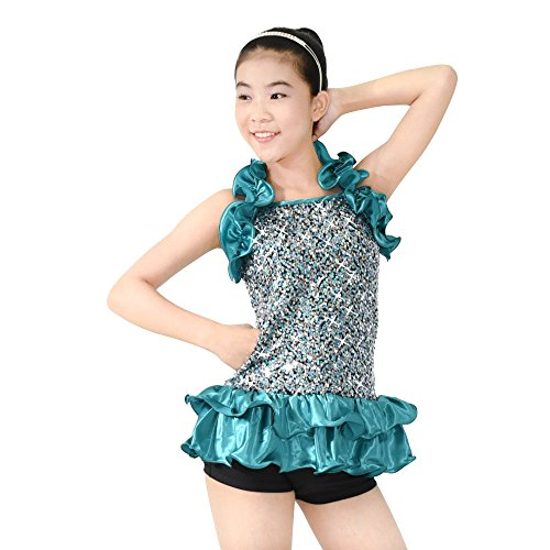 MiDee 2 Pieces Halter Sequin Decorative Border Dance Ballroom Dress Jazz Costume (XXSC, Turquoise)