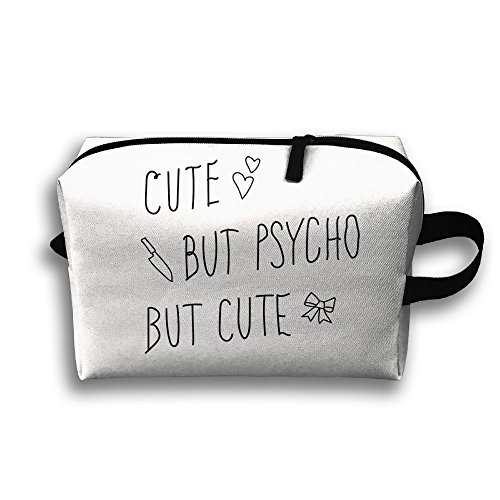 With Wristlet Cosmetic Bags Cute But Psycho Brush Pouch Portable Makeup Bag Zipper Wallet Hangbag Carry Case ()