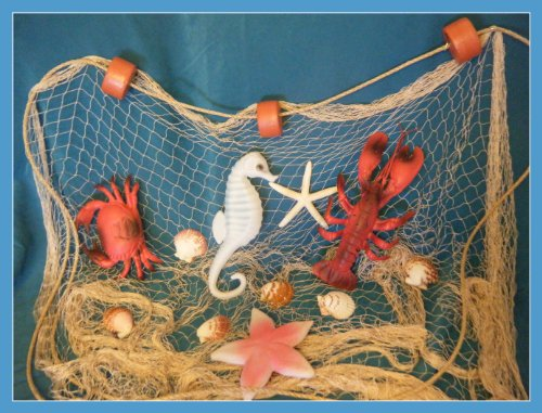 20' Beach Decor (20 X 8 Ft TAN Fish NET with White Starfish, Scollop Shells, Floats, Lobster, Crab, Starfish and Seahorse)