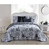 5 Piece Beautiful Girls Black White King Quilt Set, Paris Themed Bedding Boho Bohemian Rich Eiffel Tower Chic Elegant France French Modern Cute Adorable Butterfly Rose Floral, Microfiber