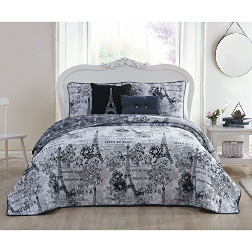 5 Piece Beautiful Girls Black White King Quilt Set, Paris Themed Bedding Boho Bohemian Rich Eiffel Tower Chic Elegant France French Modern Cute Adorable Butterfly Rose Floral, Microfiber by AM