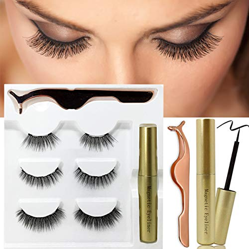 Magnetic Eyeliner with Lashes Kit, Magnetic Eyelashes False Lashes Natural Look No Glue Reusable Magnets Lashliner with Tweezer(3 Pairs)
