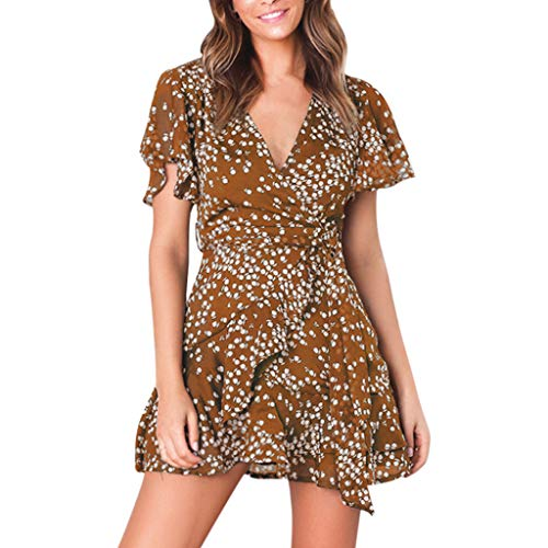 QIQIU Women's New Bohe V Neck Ruffles Flare Short Sleeve Summer Dot Print Cute Beach Mini Wrap Dress Coffee