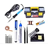 Techtest Soldering Iron 220v 60w Adjustable Temperature Welding 5pcs Tips Kit Desoldering Pump Aluminum Stand Holder With Tip Cleaner Sponge Anti Static Tweezers Esd Wire Copper Wick Cleaning Rosin Solder Paste Accessories Plastic Tool Storage Box
