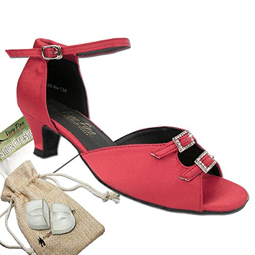 Womens-Ballroom-Dance-Shoes-Party-Salsa-Practice-Dance-Shoes-Red-Satin-1620EB-Comfortable-Very-Fine-13-Heel-8-M-US-Bundle-of-5